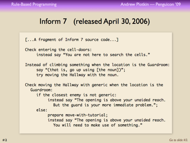 Rule-Based Programming in Interactive Fiction